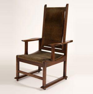 Reclining oak chair-0