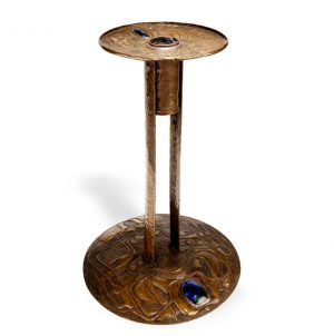 Copper and enamel candlestick-0