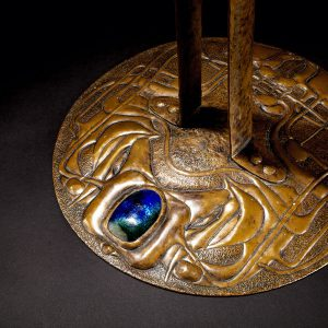 Copper and enamel candlestick-159