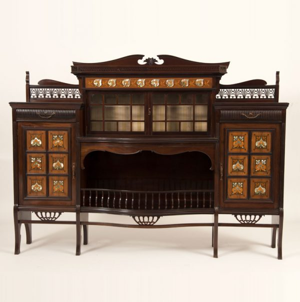 Inlaid mahogany cabinet-0
