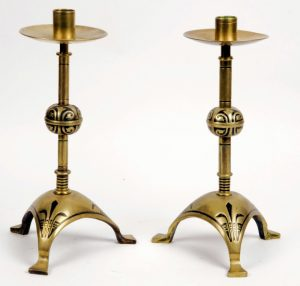Pair of brass candlesticks by Hart Son & Peard-0