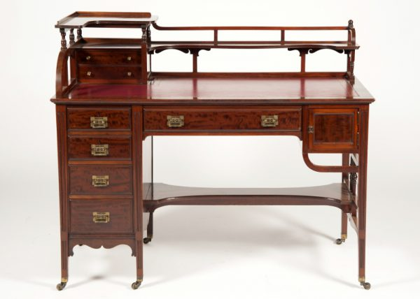 Anglo Japanese mahogany desk attributed to H.W. Batley-0