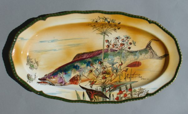 A Doulton dish signed Slater Del-0