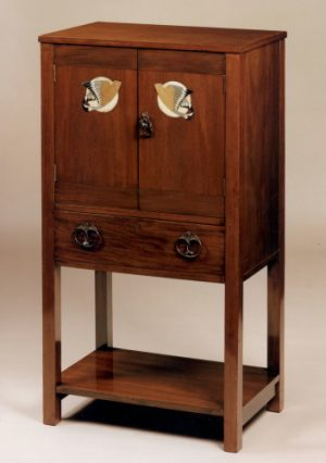 M.H.Baillie Scott for J.P.White inlaid mahogany music cabinet -0