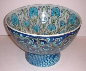 Wm DeMorgan a large serpent and carnation bowl-0