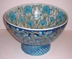 Wm DeMorgan a large serpent and carnation bowl-0