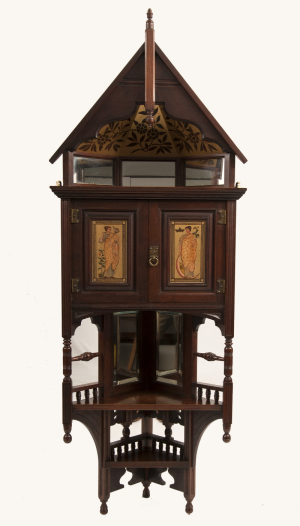 A mahogany corner cabinet -0