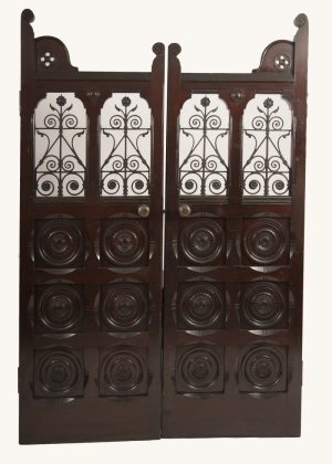 A pair of Gothic Revival doors with wrought iron work-0