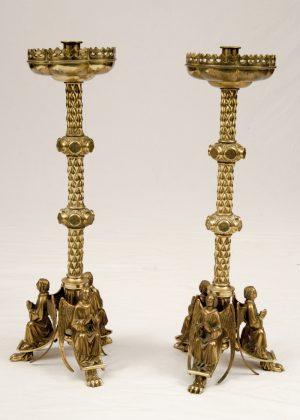 A rare pair of brass candlesticks -0