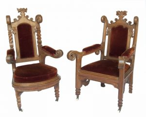 Two Gothic Revival armchairs -0