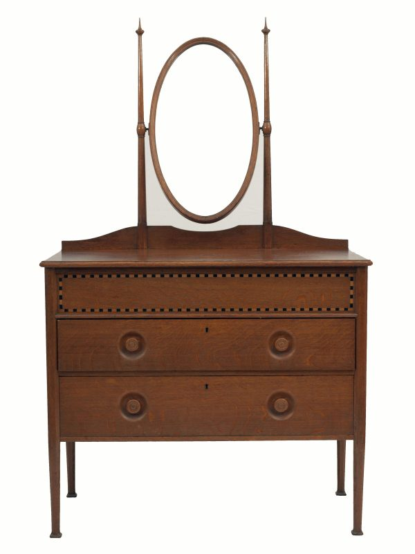 An inlaid oak dressing table-0