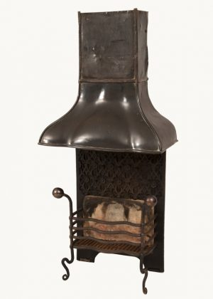 A good Arts and Crafts fire basket and hood-763