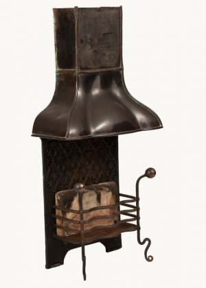 A good Arts and Crafts fire basket and hood-759