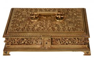 A Gothic Revival gilded brass box-0