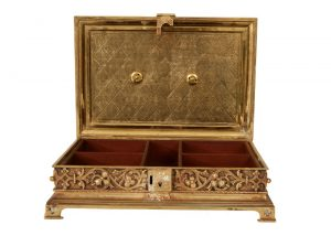 A Gothic Revival gilded brass box-847
