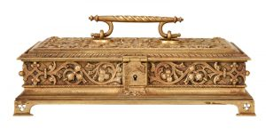 A Gothic Revival gilded brass box-839