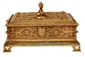 A Gothic Revival gilded brass box-842