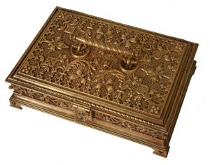 A Gothic Revival gilded brass box-841