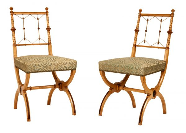 A pair of highly unusual sycamore side chairs-0