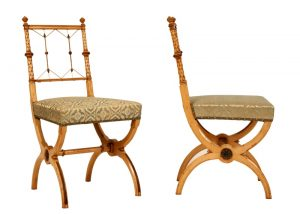 A pair of highly unusual sycamore side chairs-803
