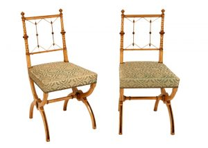A pair of highly unusual sycamore side chairs-802