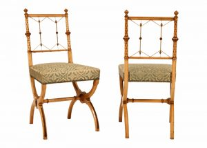 A pair of highly unusual sycamore side chairs-795
