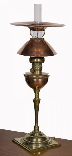 A very rare double reflector table lamp -0