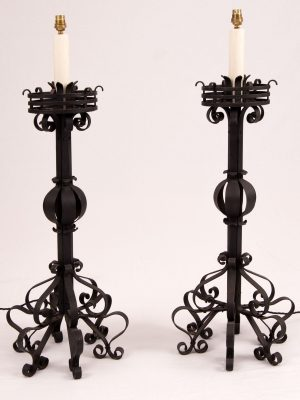 A set of four wrought iron Arts & Crafts lamps-0