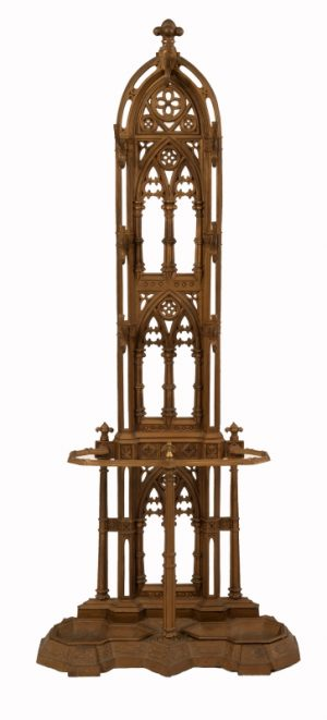 A Gothic Revival cast iron hall stand-0