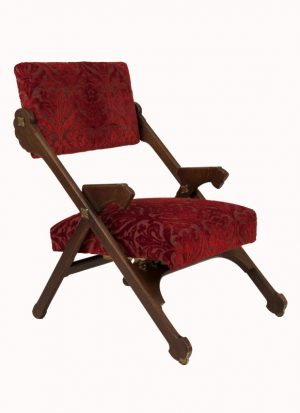 An oak folding armchair -0