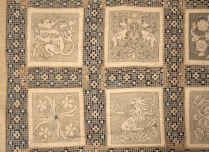 An Arts and Crafts linen bedspread-1023