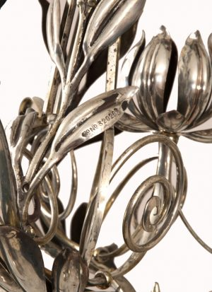 A silver plated three branch electrolier-1042