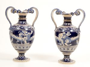A pair of majolica vases-0