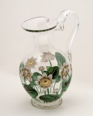 An enamelled glass jug with two goblets-1171