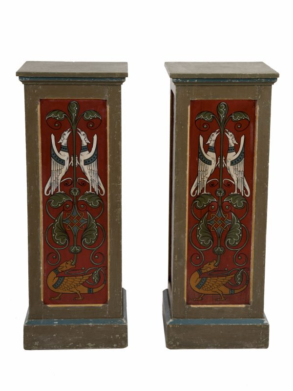 A pair of painted Gothic Revival pedestals-0
