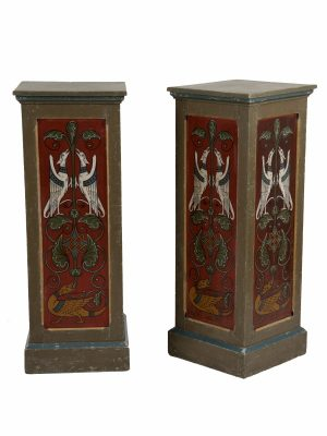 A pair of painted Gothic Revival pedestals-1178