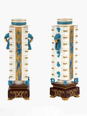 A pair of Aesthetic Movement porcelain vases -0