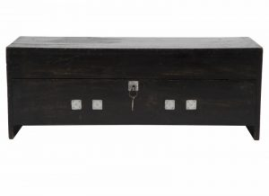 An ebonised pine toy chest -0