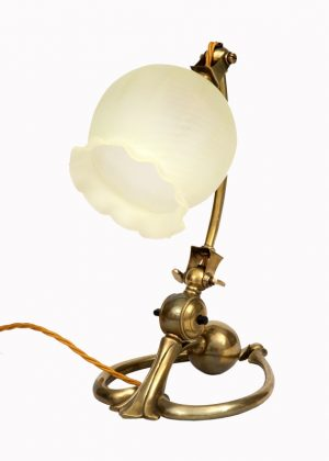 A W.A.S. Benson brass horse shoe table lamp -1426
