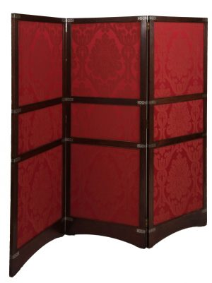 A three fold inlaid teak screen-0
