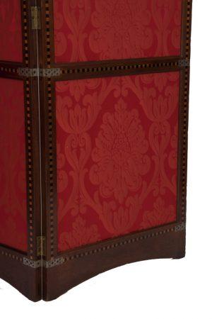 A three fold inlaid teak screen-1430