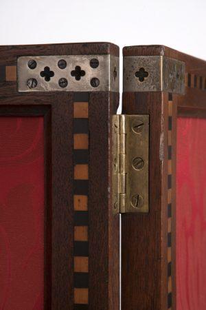 A three fold inlaid teak screen-1433