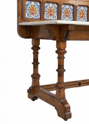 An inlaid oak washstand -1458