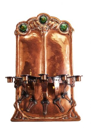 An exceptional Arts & crafts copper five sconce wall bracket-0