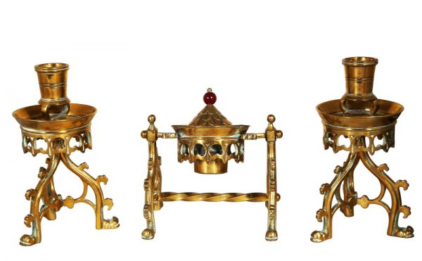 A brass Gothic Revival desk set -0