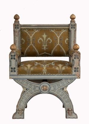 A painted Gothic Revival chair -0