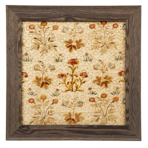 A framed millefleur embroidery-0