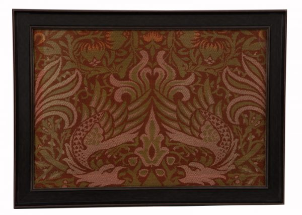 A framed panel of Peacock and Dragon fabric-0