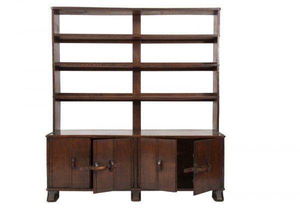 An oak bookcase with cupboards-0