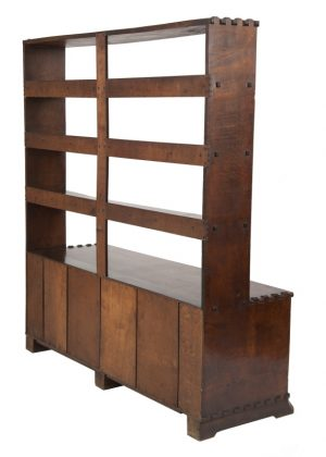 An oak bookcase with cupboards-1696